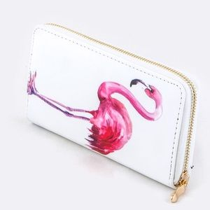 20% OFF 2+🌸 flamingo print wallet white pink